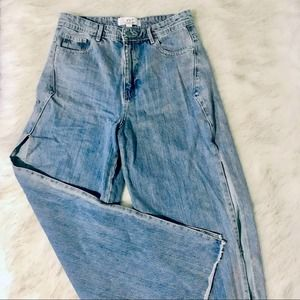 Split wide leg high waisted blue jeans Size 10
